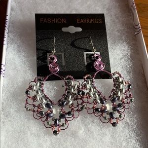 """Handmade earrings. """"Cateye copper"""" purple"""